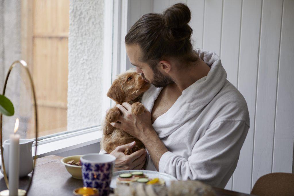 Mann holder hundevalp ved frokostbord